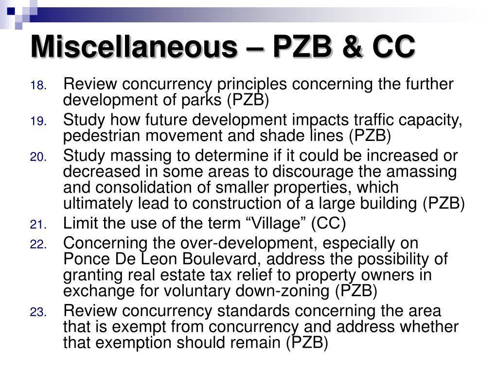 Miscellaneous – PZB & CC