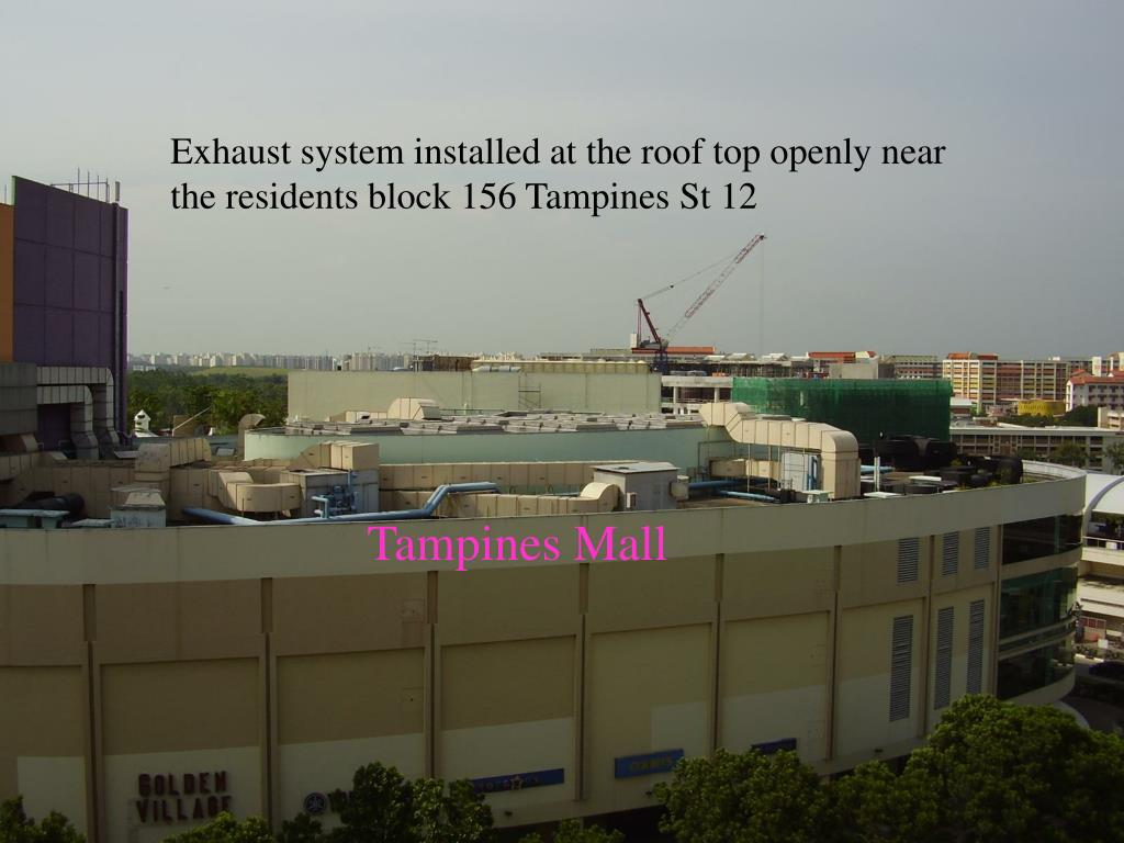 Exhaust system installed at the roof top openly near the residents block 156 Tampines St 12