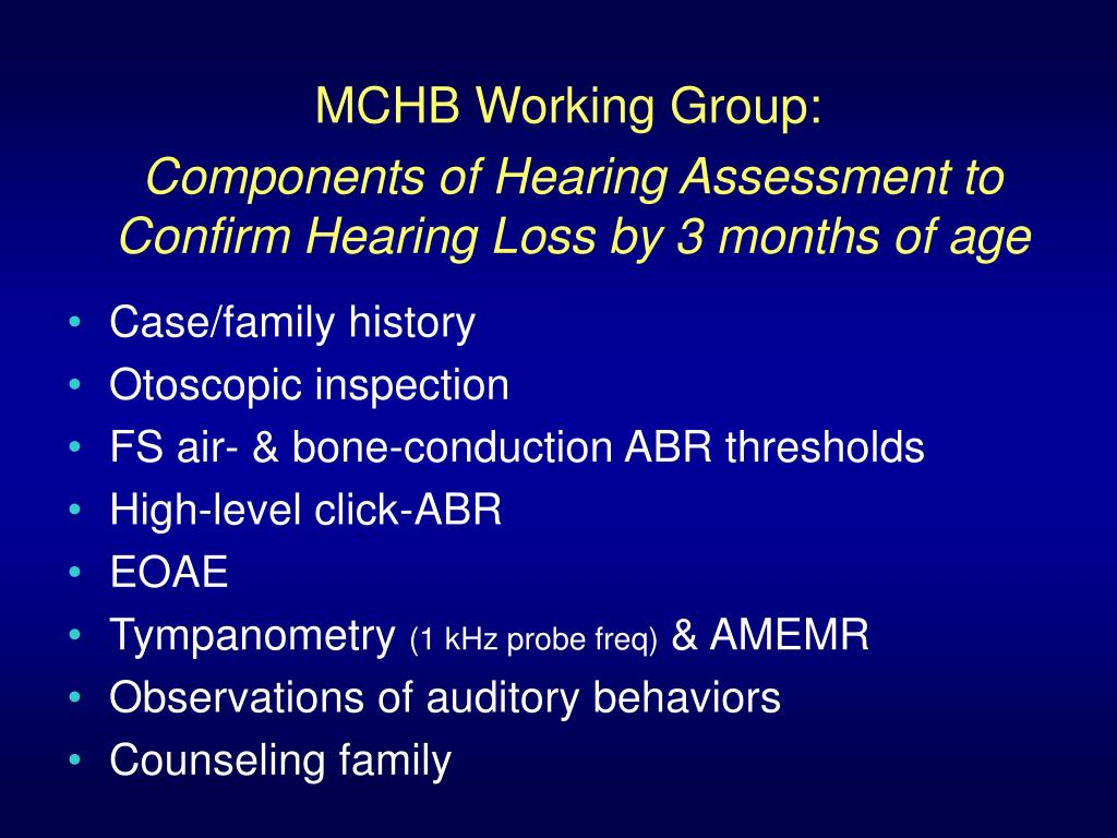 MCHB Working Group: