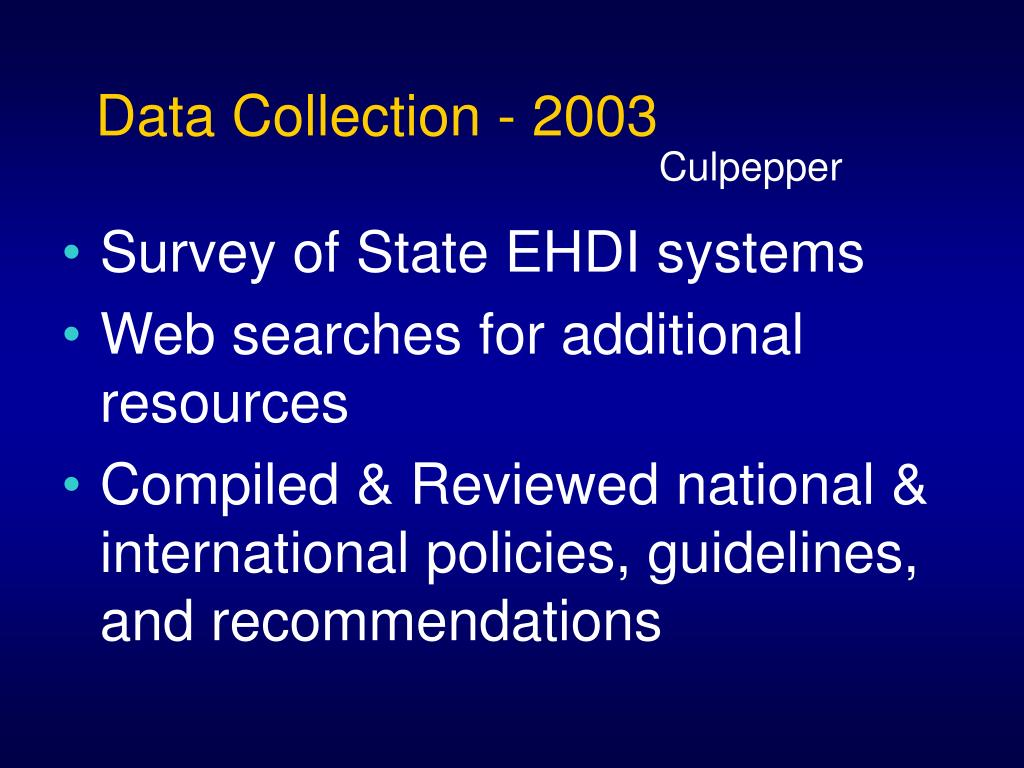 Data Collection - 2003