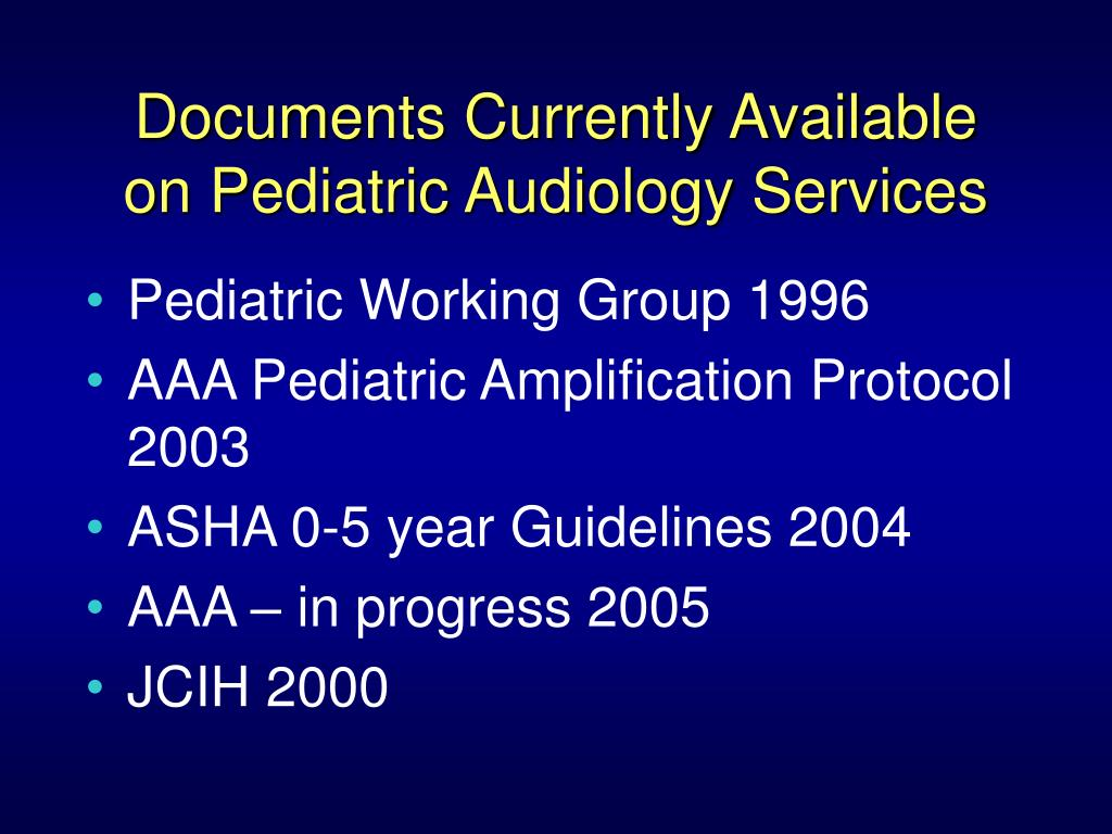 Documents Currently Available on Pediatric Audiology Services