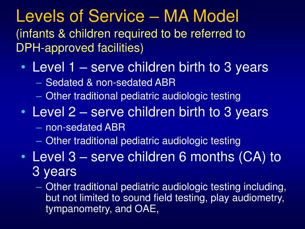 Levels of Service – MA Model