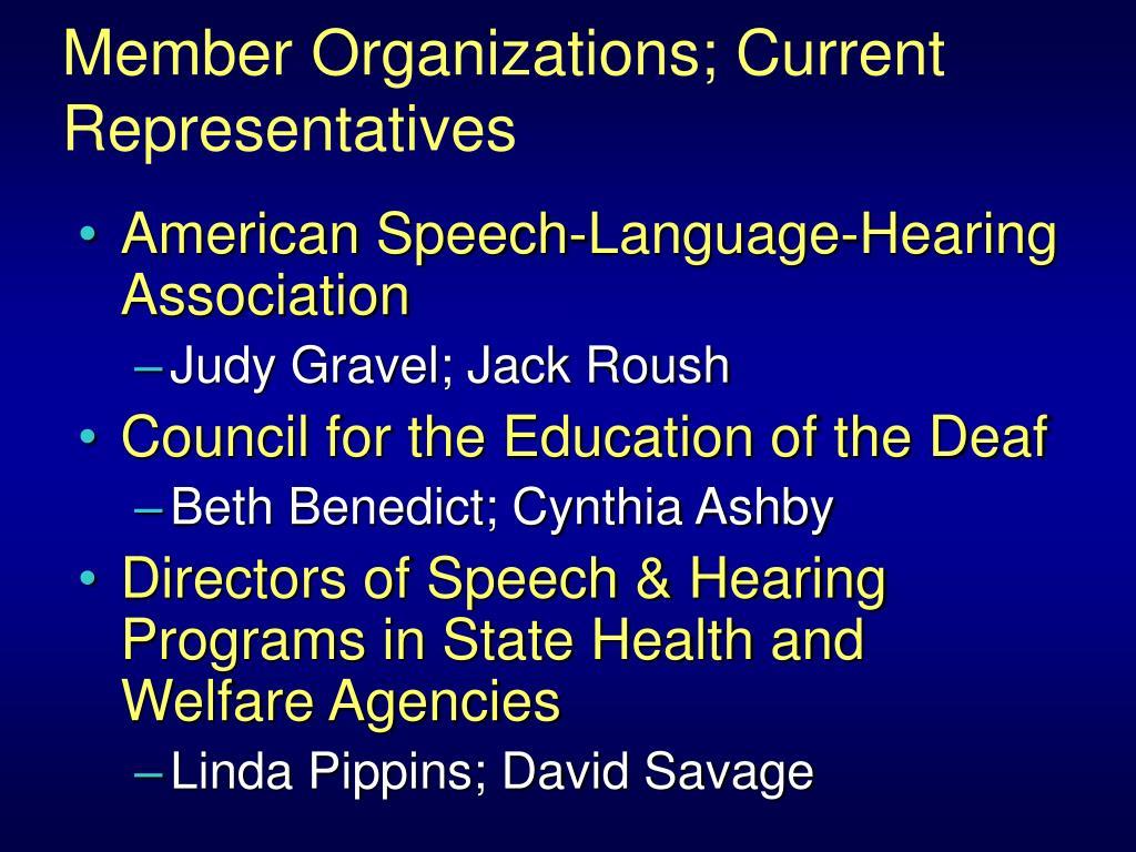 Member Organizations; Current Representatives