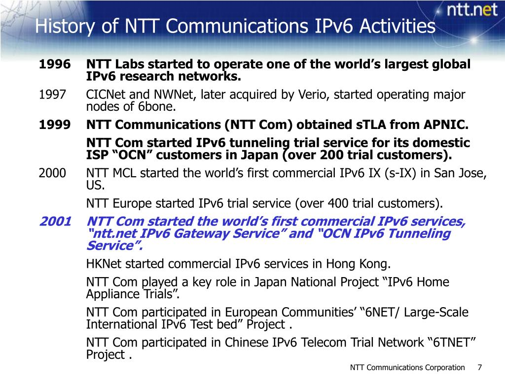 1996NTT Labs started to operate one of the world's largest global IPv6 research networks.