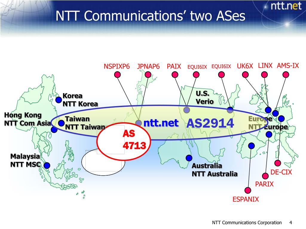 NTT Communications' two ASes