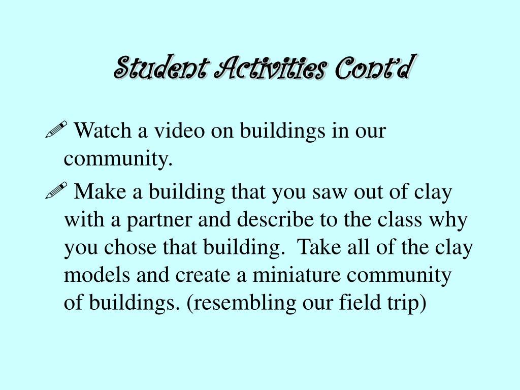 Student Activities Cont'd