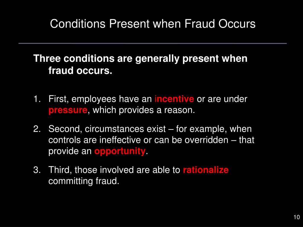 Conditions Present when Fraud Occurs