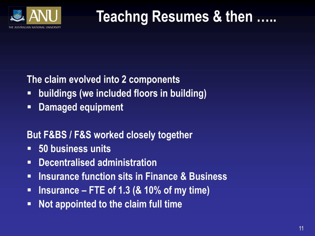 Teachng Resumes & then …..