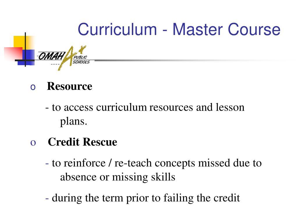 Curriculum - Master Course