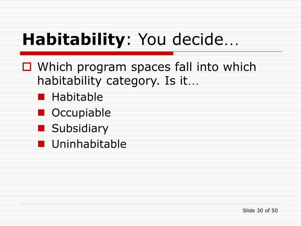 Habitability