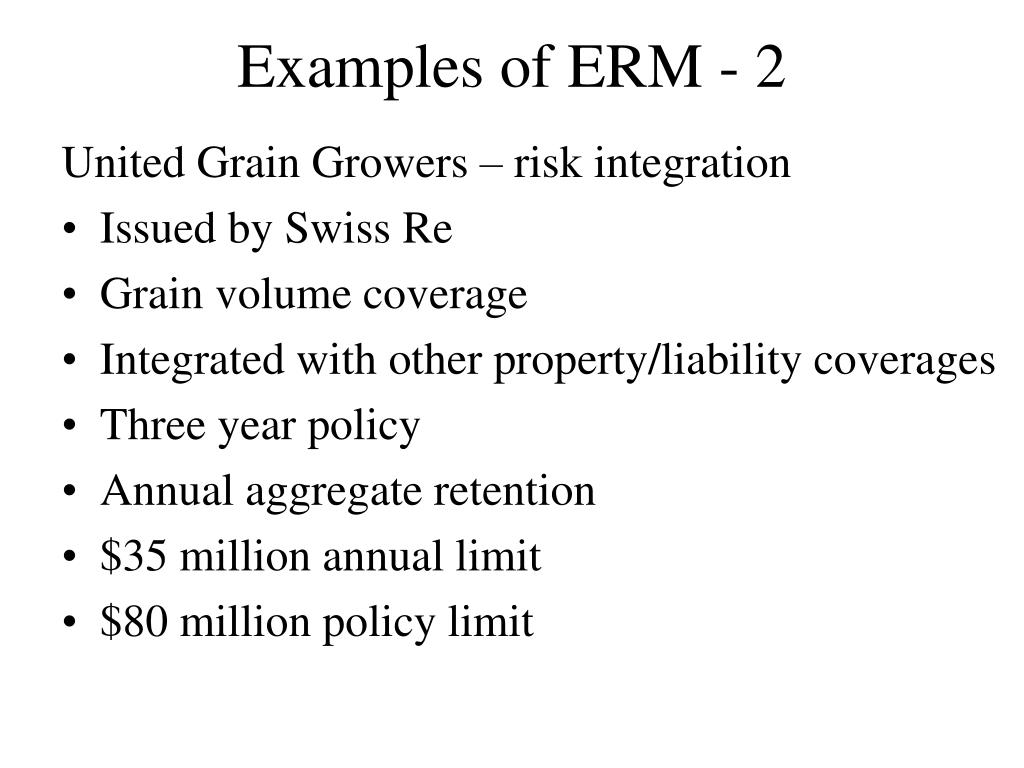 Examples of ERM - 2