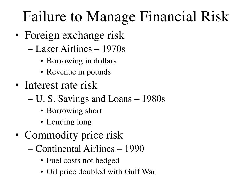 Failure to Manage Financial Risk