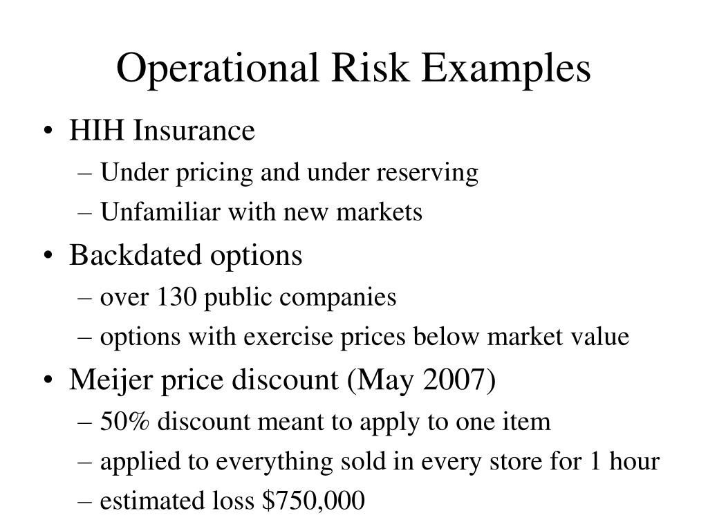 Operational Risk Examples