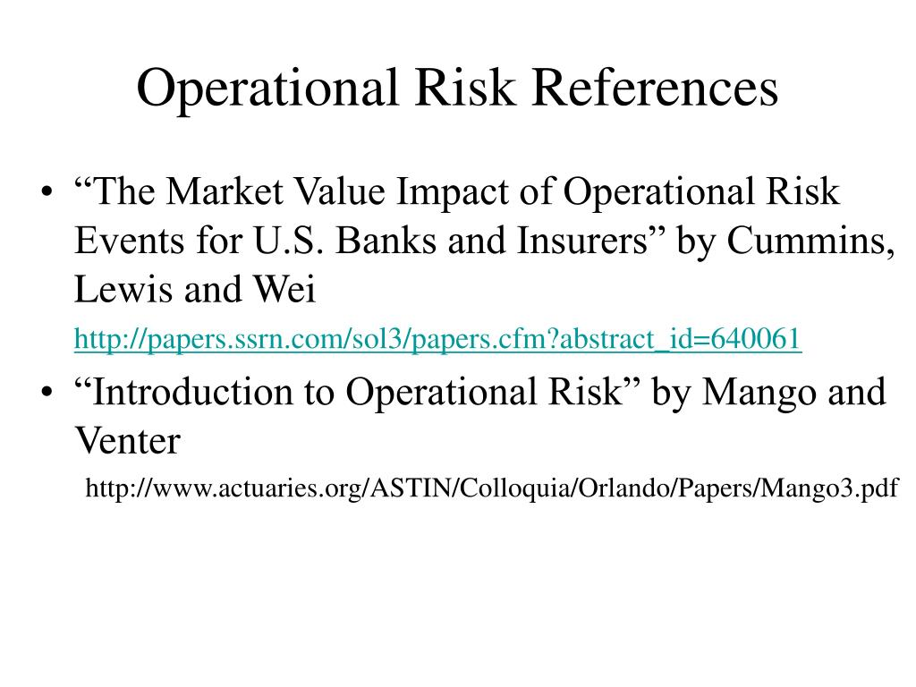 Operational Risk References