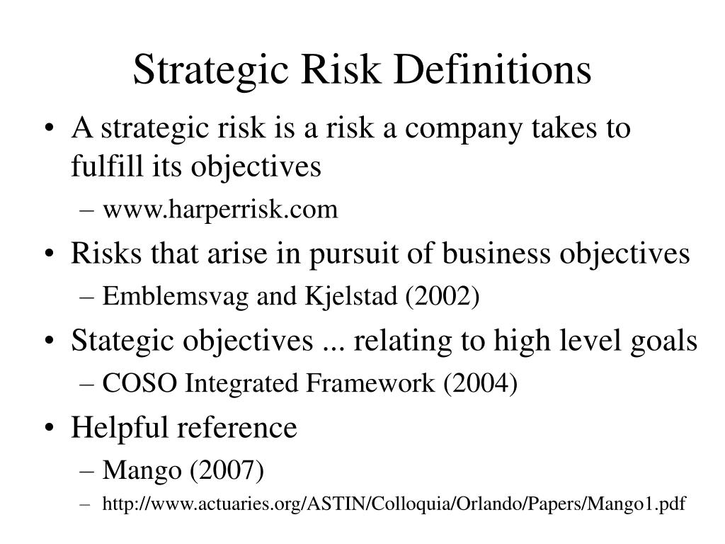 Strategic Risk Definitions