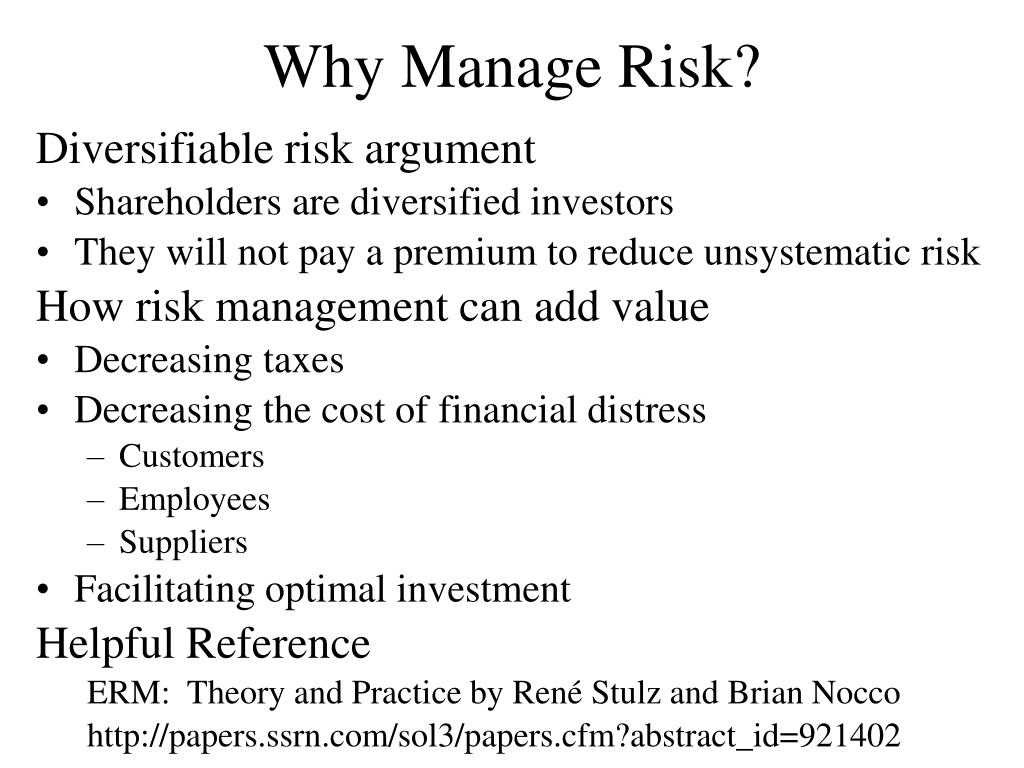 Why Manage Risk?