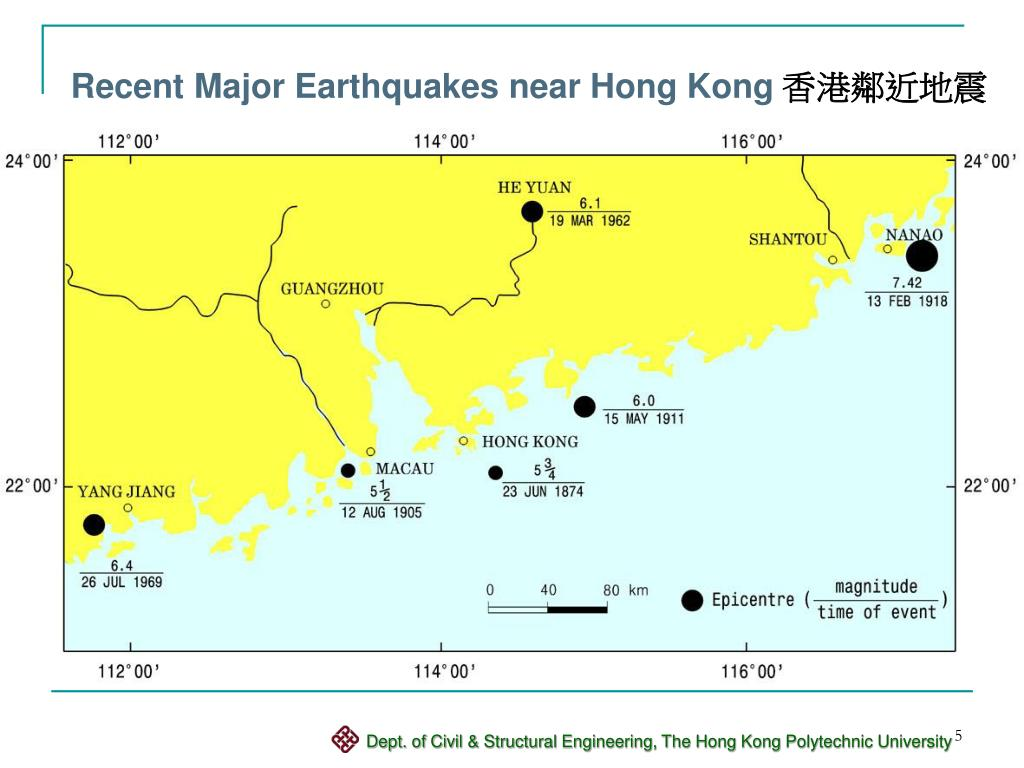 Recent Major Earthquakes near Hong Kong