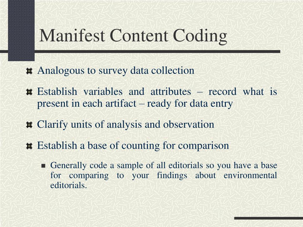 Manifest Content Coding