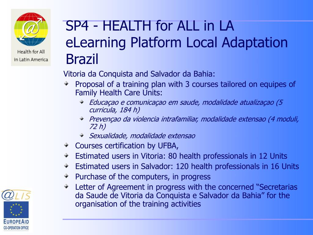SP4 - HEALTH for ALL in LA eLearning Platform Local Adaptation Brazil