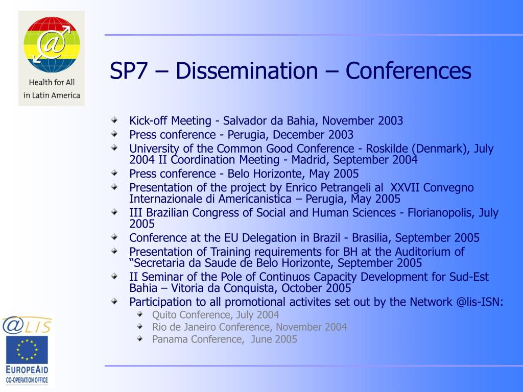 SP7 – Dissemination – Conferences