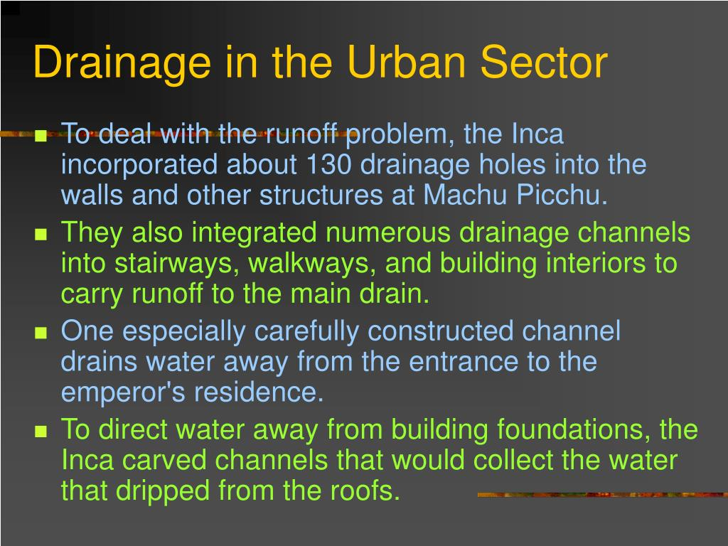 Drainage in the Urban Sector