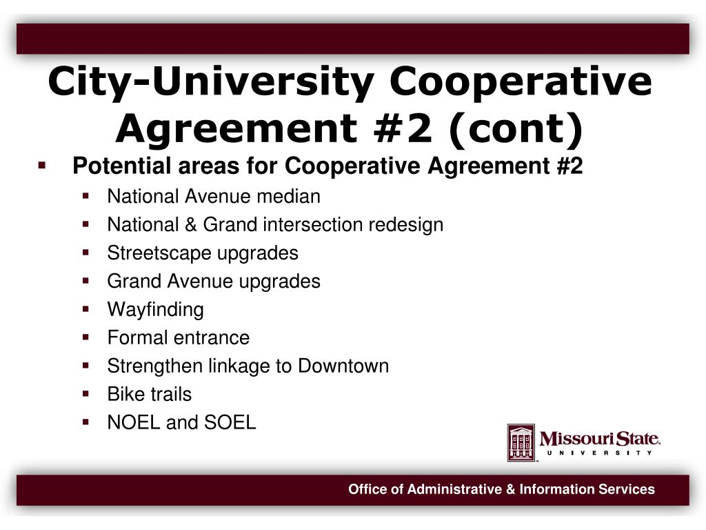 City-University Cooperative Agreement #2 (cont)