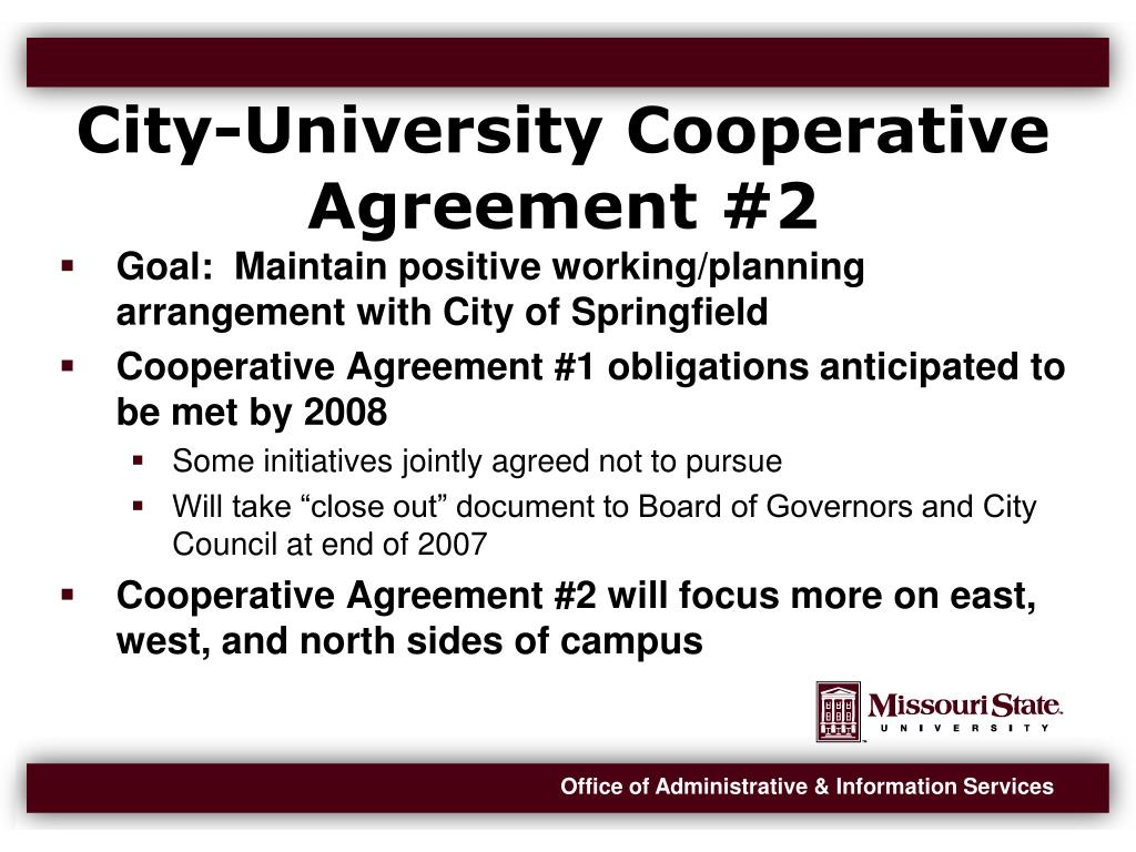 City-University Cooperative Agreement #2