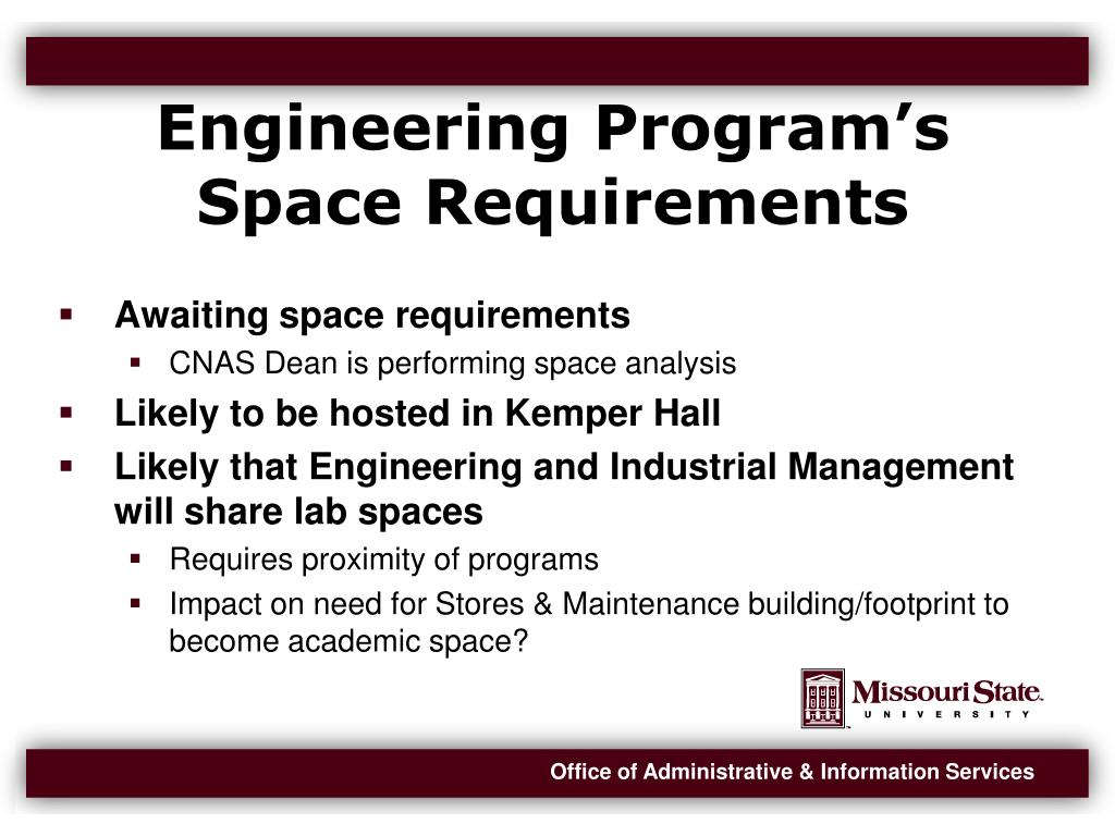 Engineering Program's Space Requirements