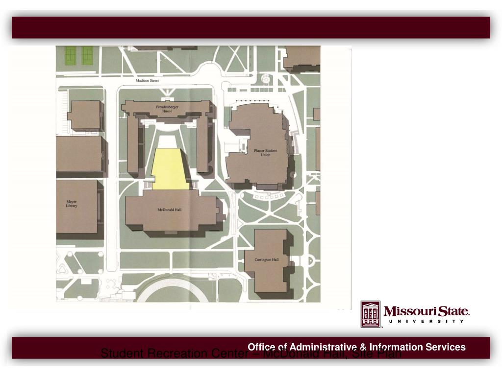 Student Recreation Center – McDonald Hall, Site Plan