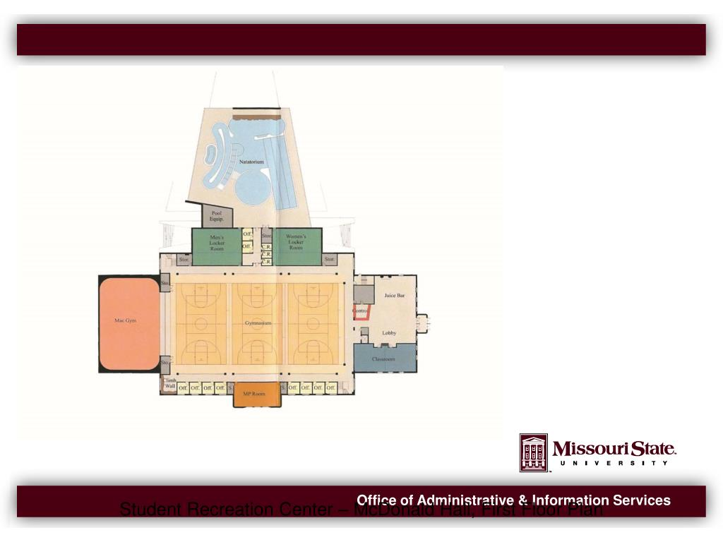 Student Recreation Center – McDonald Hall, First Floor Plan