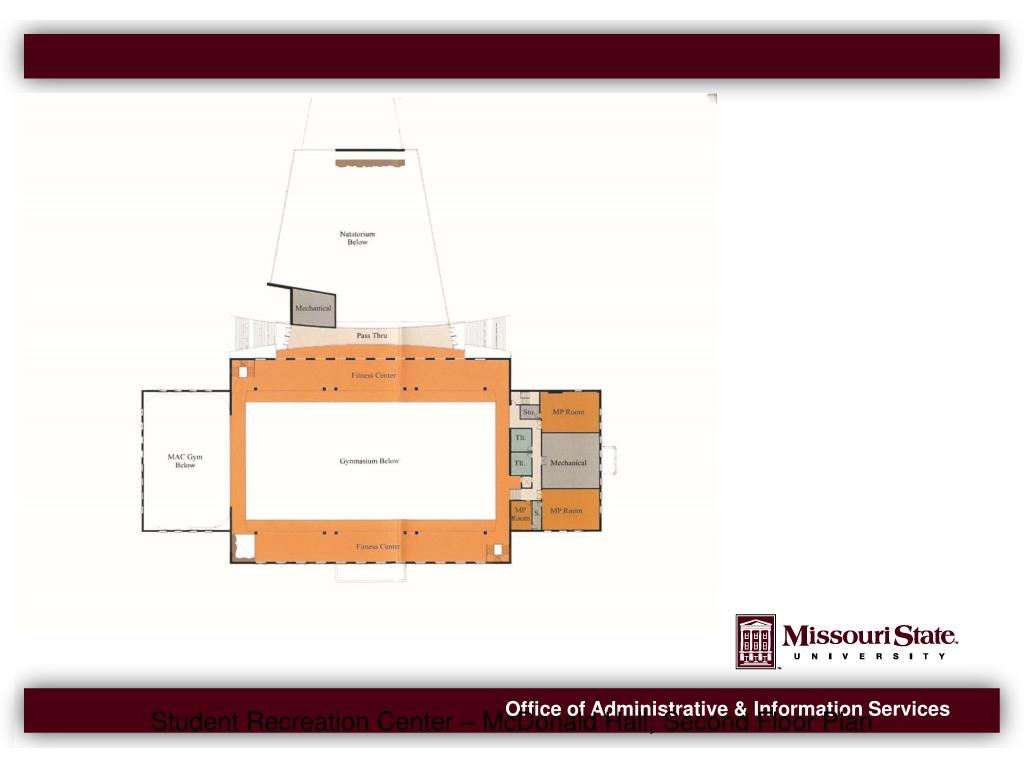 Student Recreation Center – McDonald Hall, Second Floor Plan