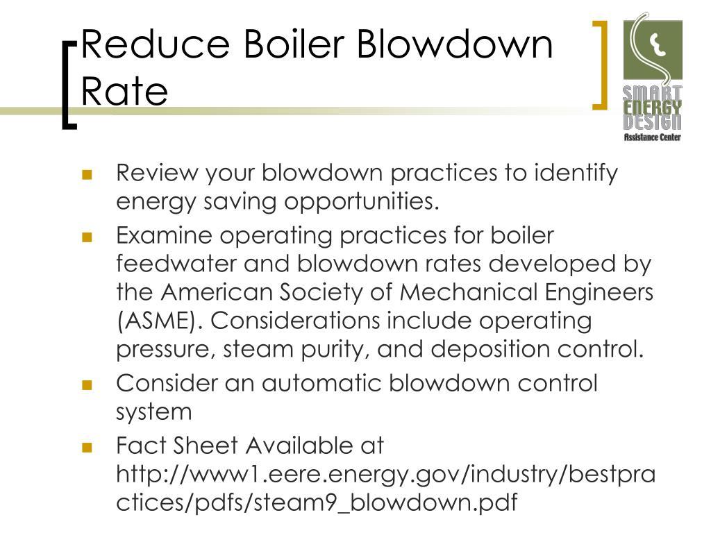 Reduce Boiler Blowdown Rate