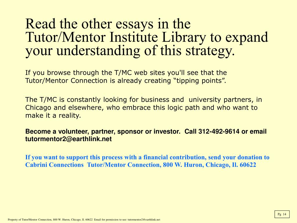 "If you browse through the T/MC web sites you'll see that the Tutor/Mentor Connection is already creating ""tipping points""."