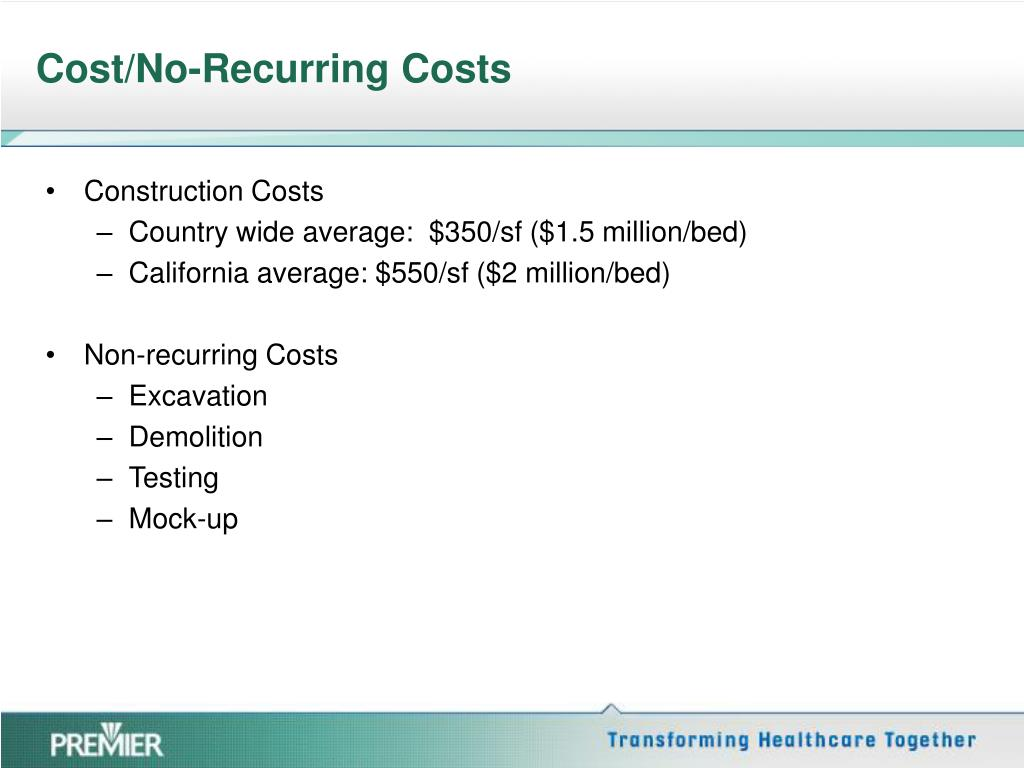 Cost/No-Recurring Costs