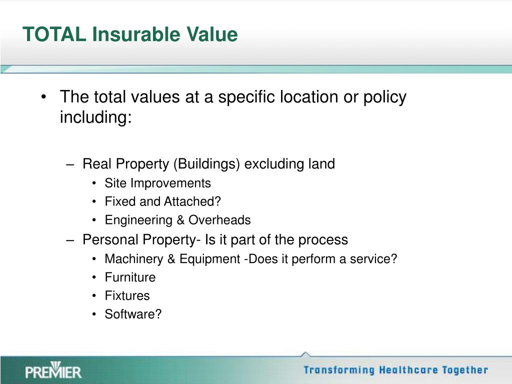 TOTAL Insurable Value
