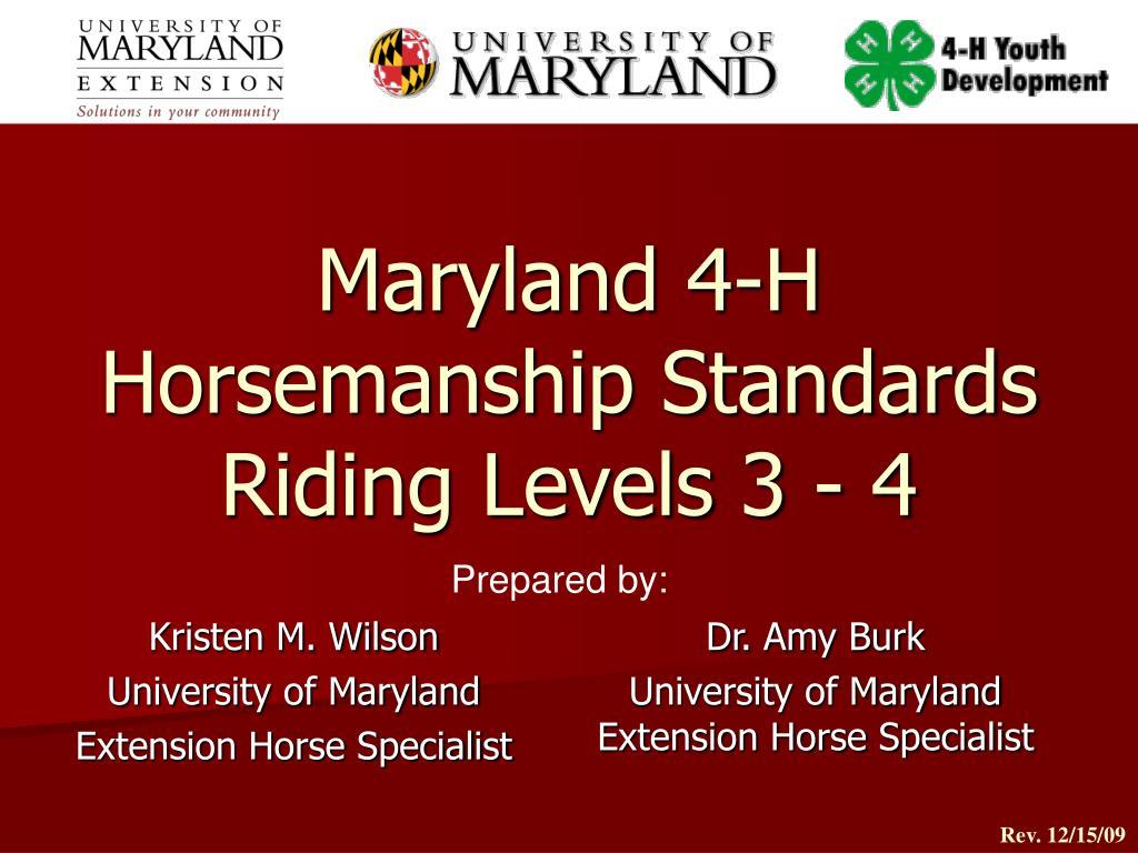 Maryland 4-H Horsemanship Standards