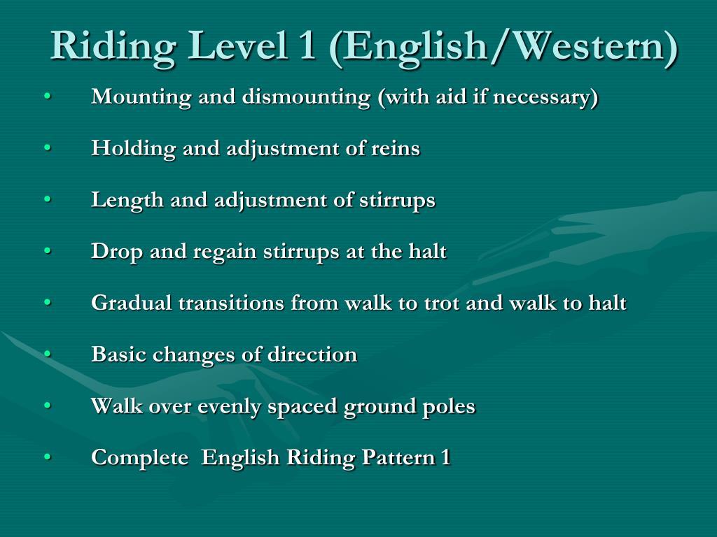 Riding Level 1 (English/Western)