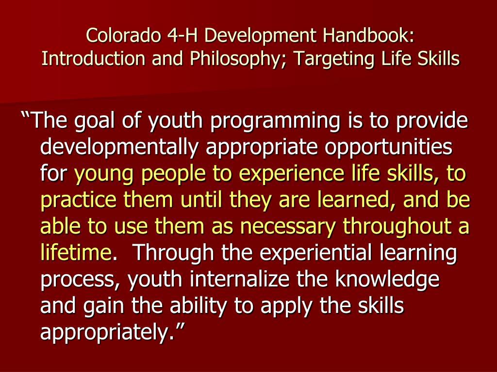 Colorado 4-H Development Handbook: