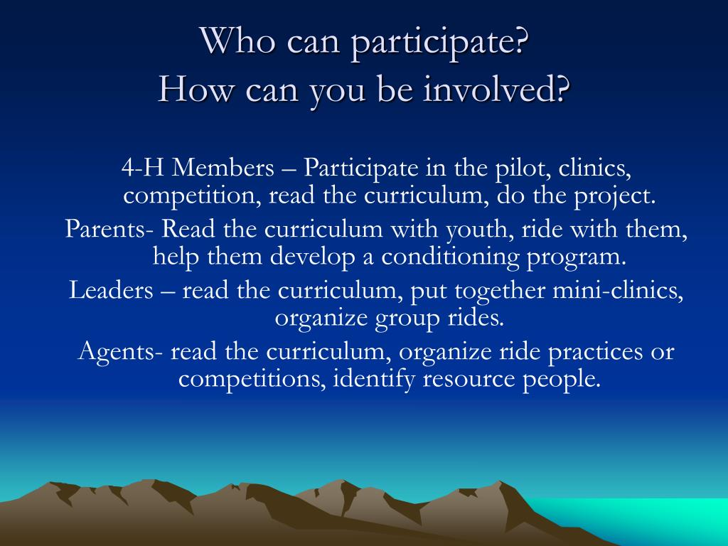 Who can participate?