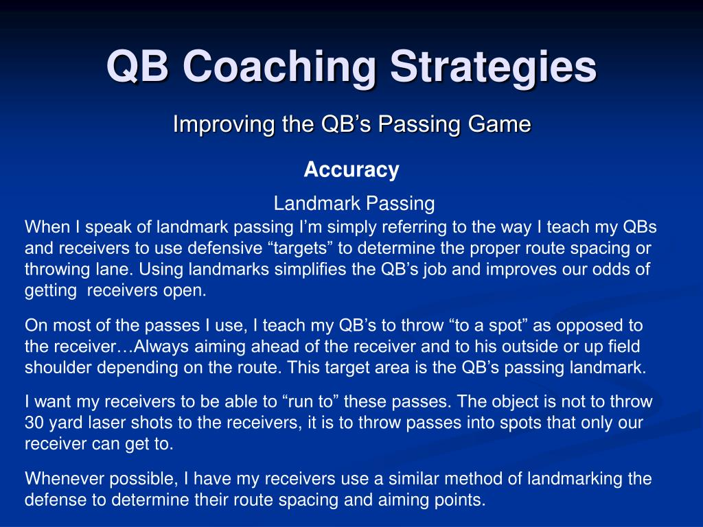 QB Coaching Strategies