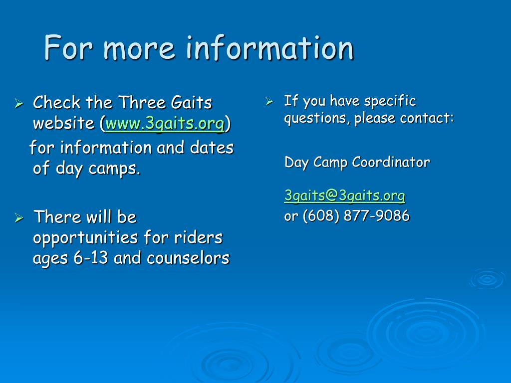 Check the Three Gaits website (