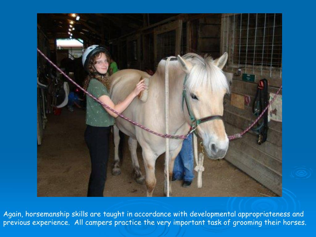 Again, horsemanship skills are taught in accordance with developmental appropriateness and previous experience.  All campers practice the very important task of grooming their horses.