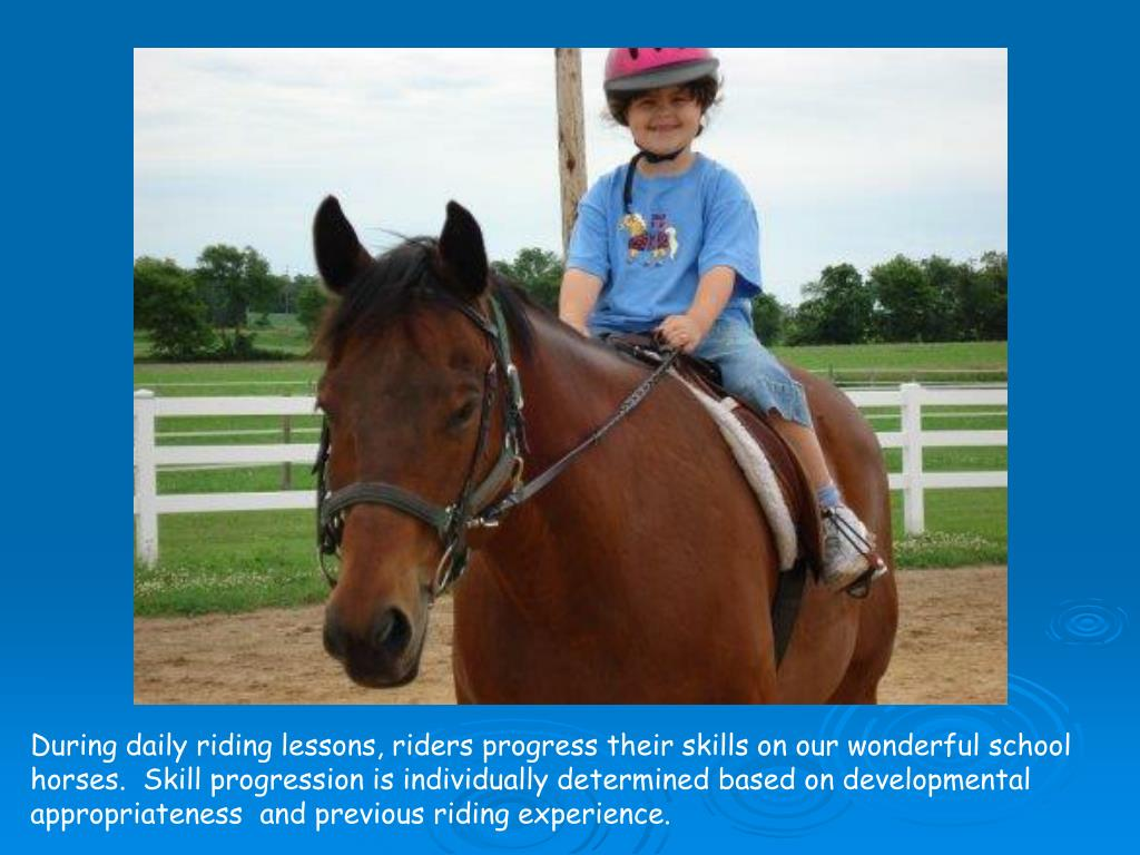 During daily riding lessons, riders progress their skills on our wonderful school horses.  Skill progression is individually determined based on developmental appropriateness  and previous riding experience.
