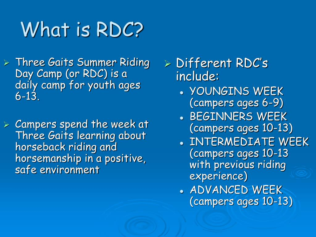 Three Gaits Summer Riding Day Camp (or RDC) is a daily camp for youth ages 6-13.