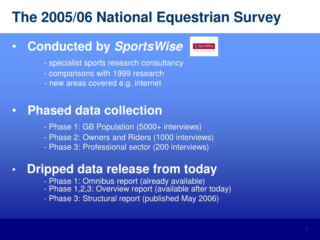 The 2005/06 National Equestrian Survey