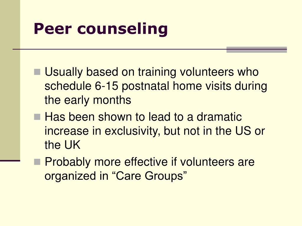 Peer counseling