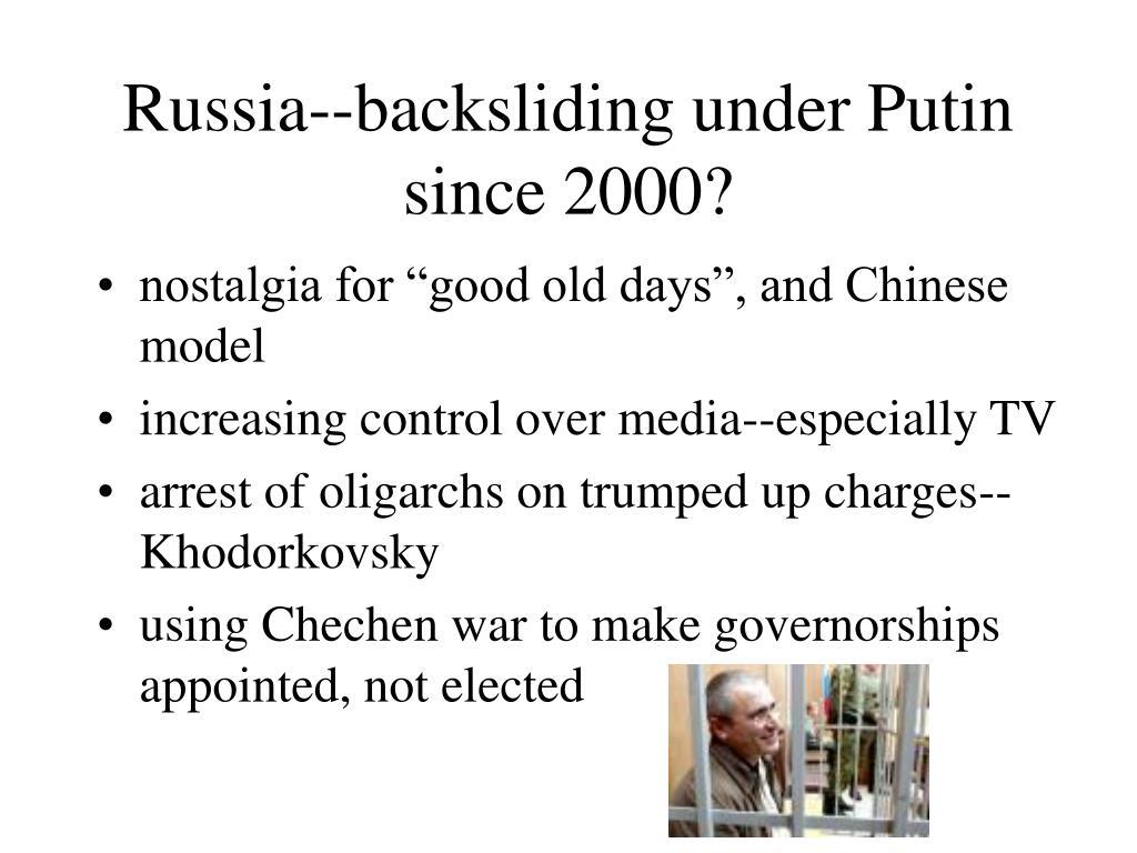 Russia--backsliding under Putin since 2000?