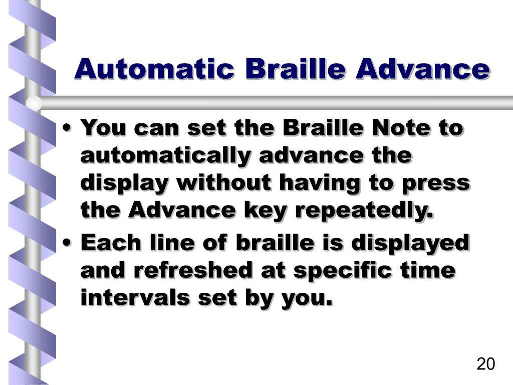 Automatic Braille Advance