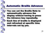 automatic braille advance