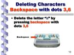 deleting characters backspace with dots 3 613